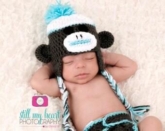 Newborn Photo Prop//Newborn Sock Money Hat//Monkey Hat//Crochet Hat//Crocheted Hat//Newborn Boy Hat//Animal Hat//Baby Shower Gift//Custom
