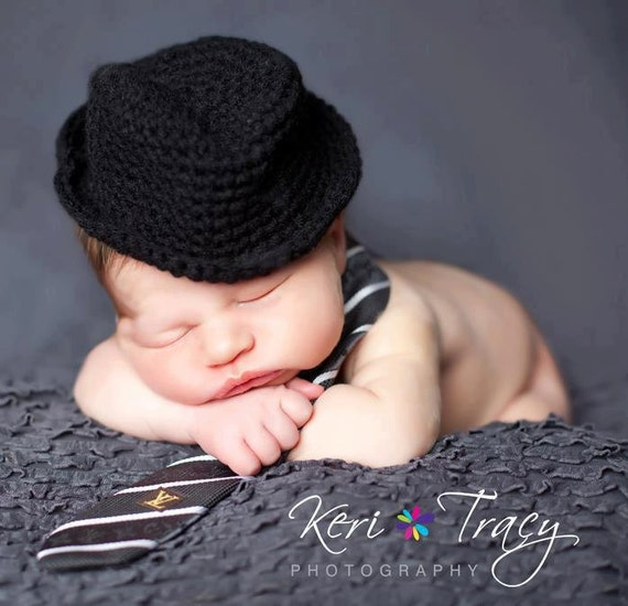 Newborn Photo Prop, Baby Boy Hat, Crochet Fedora, Baby Gift, Baby Accessory, Black, Fedora, Little Man, Newborn Hat