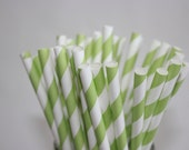 25 Light Green Striped Paper Straws and Printable Flag Toppers
