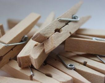 """48 Small 1"""" Natural Wood Clothespins"""