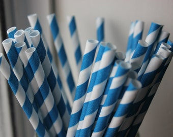 25 Blue Striped Paper Straws and Printable Flag Toppers