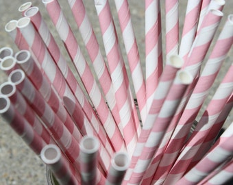 25  Pale Pink Striped Paper Straws and Printable Flag Toppers