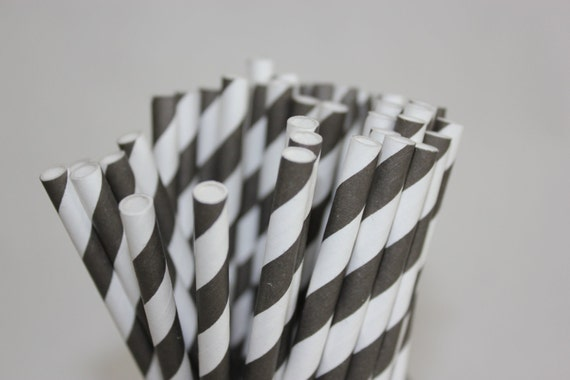 25 Black Striped Paper Straws and Printable Flag Toppers