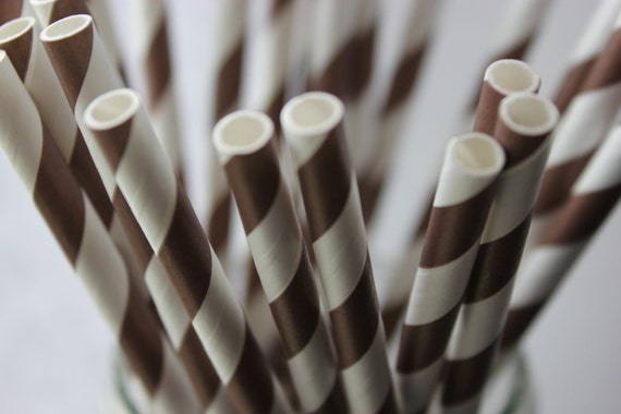 25 Chocolate Brown Striped Paper Straws and Printable Flag Toppers