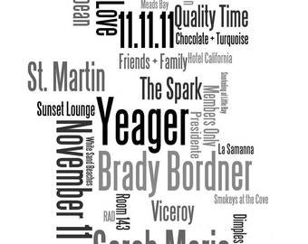 Unframed Custom Word Art Print: Father's Day, Mother's Day, Birthday, Wedding, Engagement, Anniversary 11x14