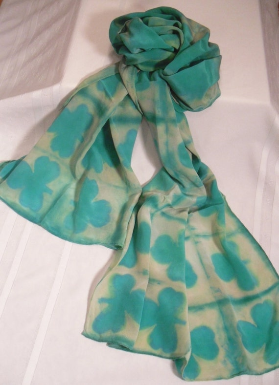 10 OFF St Patricks Day Irish Hand Dyed Silk Scarf Mother's St Patricks Day Scarf