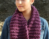 "Knitted Tube Scarf in ""Plum"""