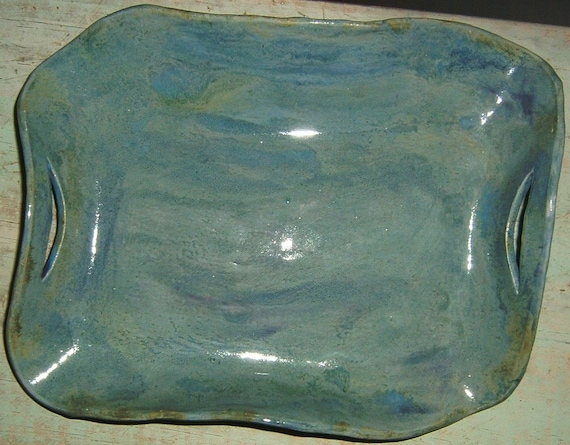Large Pretty Blue, Green, Purple Platter With Handles