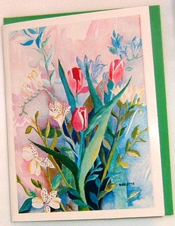 6 Red Tulip Bouquet Art Note Cards On Sale