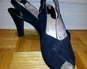 Gorgeous vintage 1940s black peep toe slingback shoes - Pin up - VLV - sz 8
