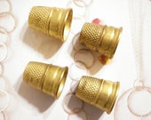 4 Vintage Brass Lillian Vernon Sewing Thimbles