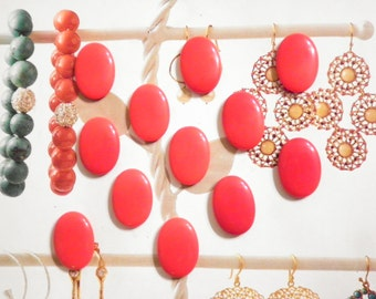 24 Vintage Lucite 14x10mm Bright Red Cabochons