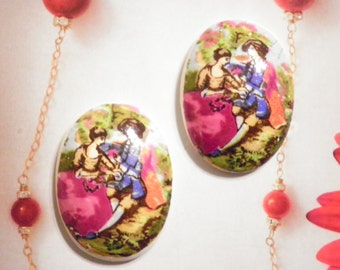 2 Vintage Japan Ceramic 30x22mm Hand Painted Cabochons.