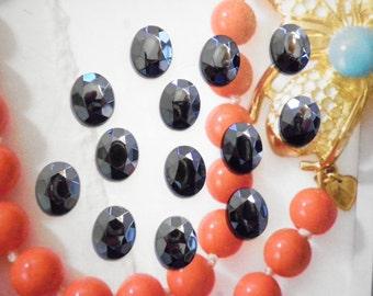 12 Vintage West German Glass 10x8mm Faceted Hematite Stones