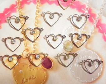 14 Vintage Sillver Plated 13mm Heart Pendants with Rhinestone