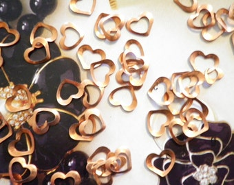 72 Vintage Coppercoated 8mm Open Heart Findings
