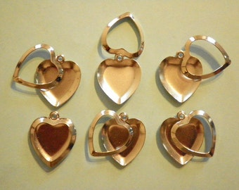 6 Silverplated 21mm Hearts with Moveable Picture Frames