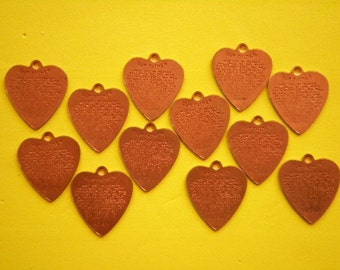 12 Coppercoated 21mm The Lord's Prayer Heart Charms