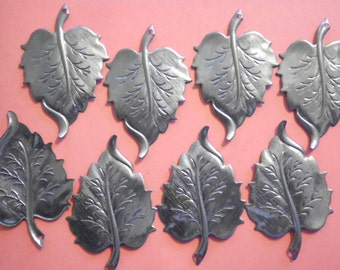 8 Nickelplated Steel 50mm Leaf Charms with Hole