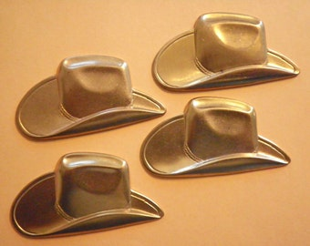 6 Large Brass 48mm Cowboy Hats