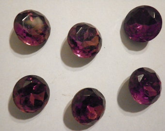 6 Vintage Czech Glass 14mm Amethyst Faceted Stones