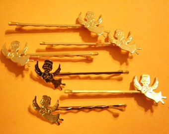6 Goldplated 19mm Angel Bobby Pin Findings