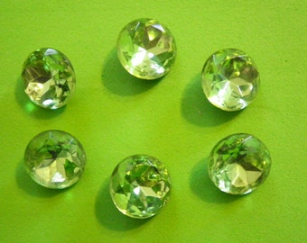 6 Vintage Czech Glass 15mm Peridot Green Faceted Stones