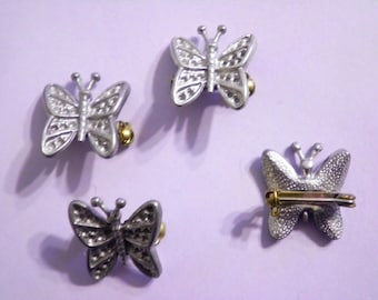 6 Vintage 20mm Butterfly Brooches with Pin