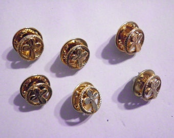 6 Vintage Cross in a Circle Pin Brooches
