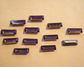 12 Vintage Glass 18x6mm Faceted Topaz Bagettes with Goldbacks