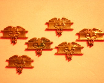 6 Vintage Brass U.S. Army Expert Medical Badges