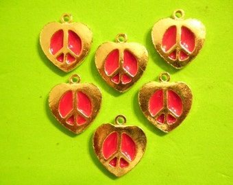 6 Vintage Goldplated 22mm Red Enameled Peace sign in a Heart Pendants