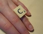 Scrabble letter C ring