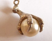 Vintage  3D English Sterling Silver  Faux Pearl In A Dragons Claw   bracelet charm