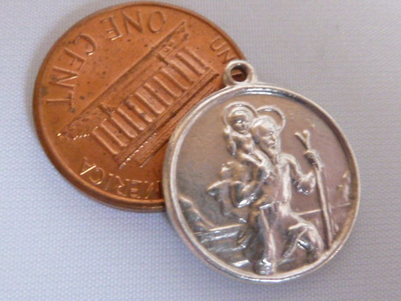 Vintage English Sterling Silver Charm  St Christopher fob