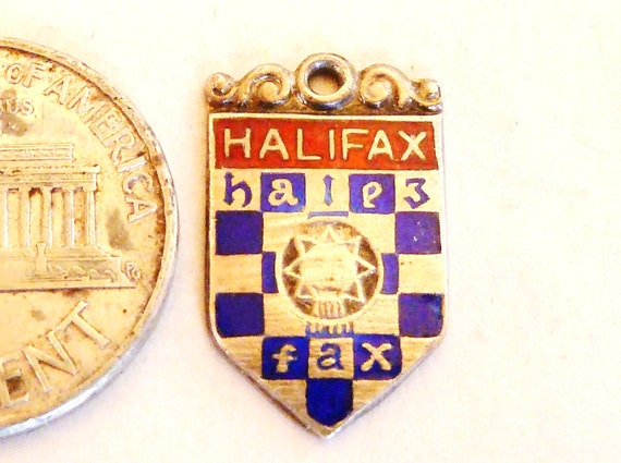 Souvenir Travel Shield Charm Sterling Silver and enamel Halifax Canada