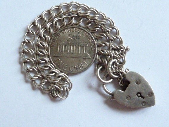Vintage English Sterling Silver Bracelet Charm With Hearth Padlock & Safety chain .