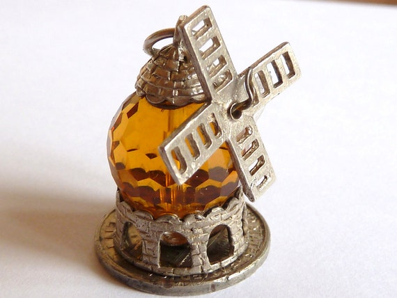 CHIM Vintage English  Sterling  Silver Crystal Windmill  Charm Pendant Jewelry