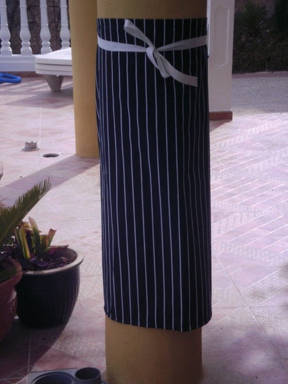 Butchered striped black and white Chefs half apron plain and simple.