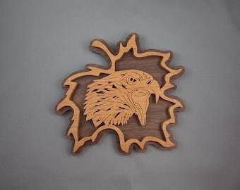 Eagle Head In Leaf