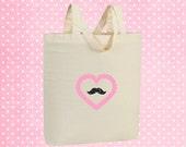 Pink heart mustache bag - Cotton tote bag - eco friendly shopper