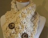 CROCHET PATTERN, Download PDF, Popcorn, scarf neck warmer wrap button up