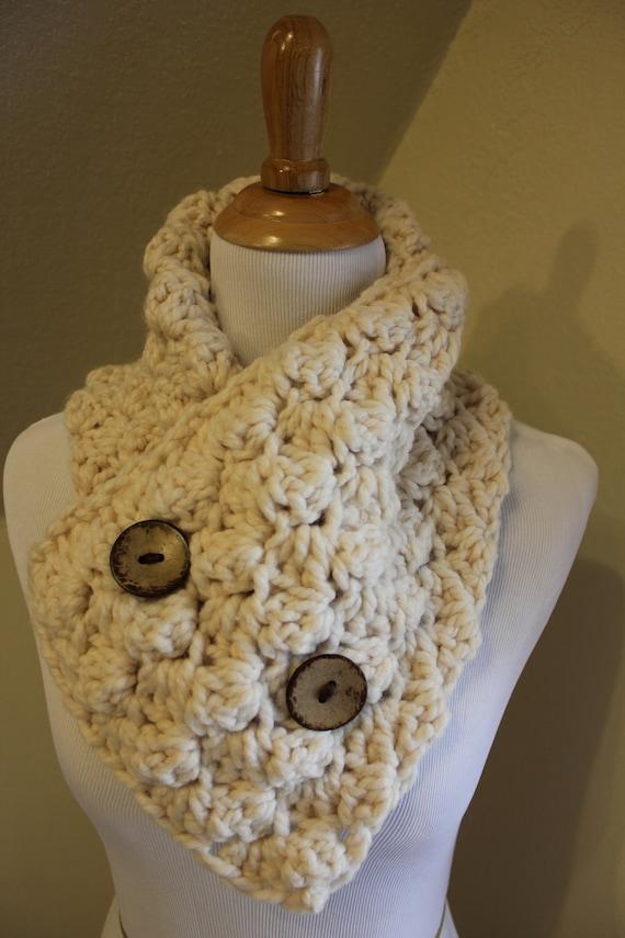 Items Similar To Popcorn Crochet Scarf Neck Warmer Button