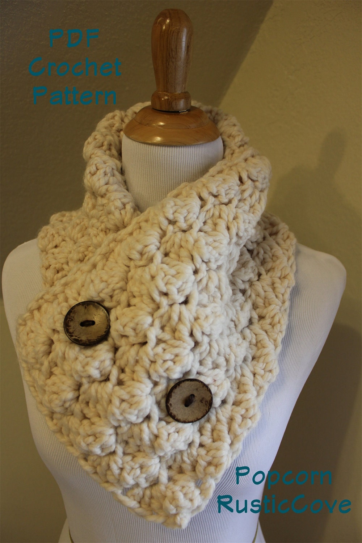 CROCHET PATTERN Download PDF Popcorn scarf neck by rusticcove