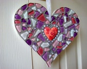 Pinks and Purples Glass Mosaic Hanging Heart Ornament Large - FunkyMosaicsUK