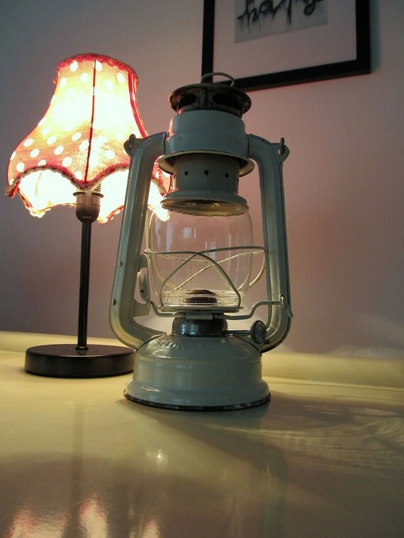 SALES 20% OFF - Vintage Swallow Brand Cream Camping Lantern