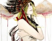 20% Donation Made - Original Watercolor Painting Illustration Print - Woman in Native Headdress