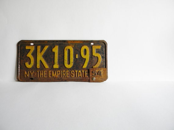 New York License Plate 1953/1954 Vintage