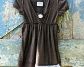 Beautiful Blossom on Brown Top/upcycled romantic babydoll shirt/eco friendly top