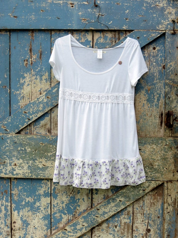 Dainty Is As Dainty Does Top/ upcycled romantic with flowers t shirt